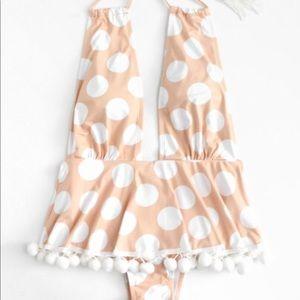 Polka Dot Pom Pom Hem Swim Suit Large